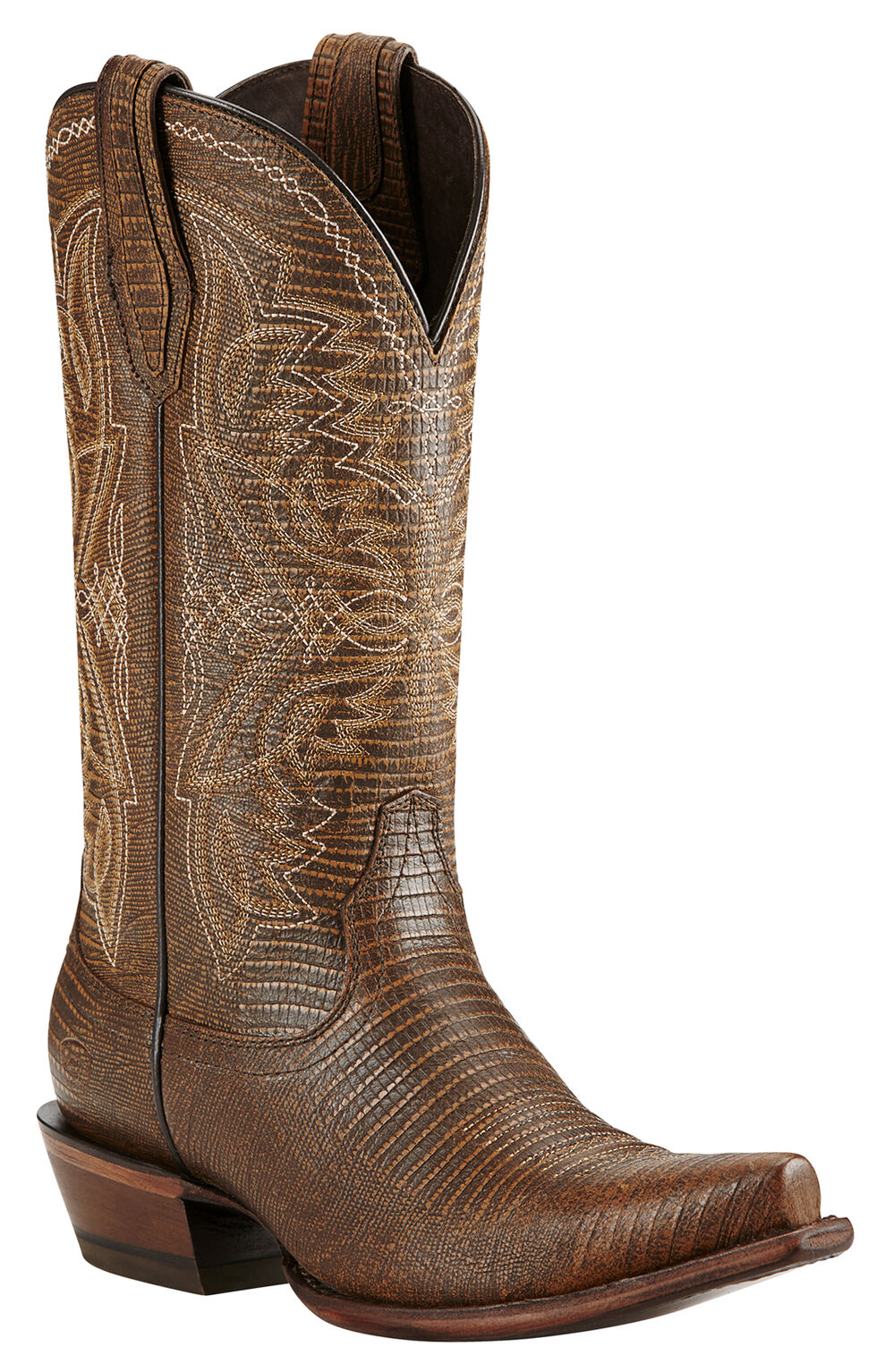 Ariat Alamar Lizard Print Cowgirl Boots - Snip Toe, Chocolate, hi-res