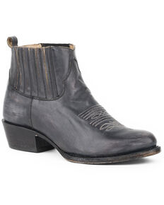 Stetson Women's Distressed Leather Pilar Boots - Round Toe , Black, hi-res