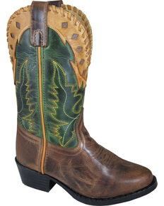 Smoky Mountain Youth Boys' Reno Western Boot - Round Toe, Brown, hi-res