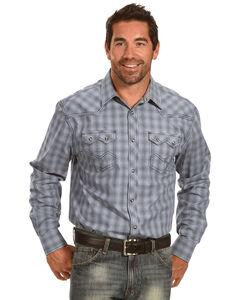 Moonshine Spirit Men's Grid Plaid Long Sleeve Snap Shirt, Blue, hi-res