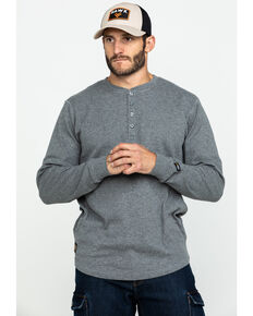Hawx® Men's Heather Grey Thermal Henley Long Sleeve Work Shirt - Tall , Heather Grey, hi-res