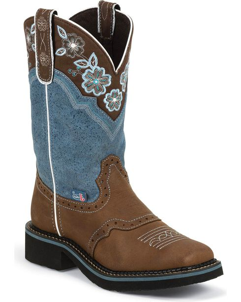 Justin Gypsy Floral Embroidered Cowgirl Boots - Square Toe, Aged Bark, hi-res