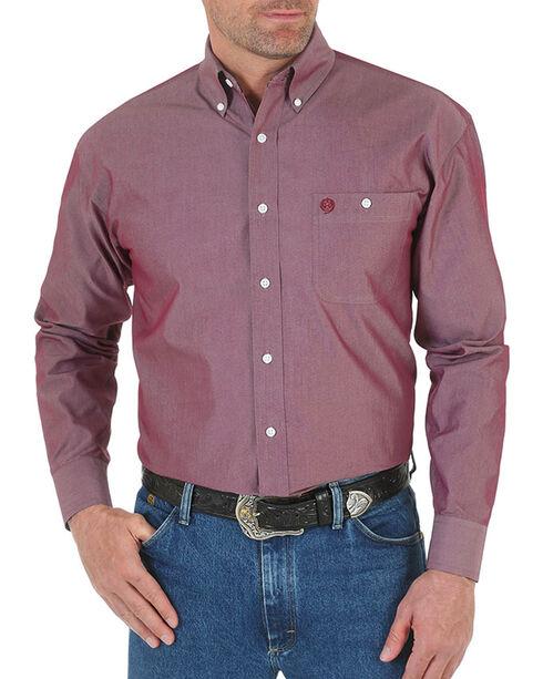 Wrangler George Strait Men's Solid Long Sleeve Button Down Shirt - Tall, Burgundy, hi-res