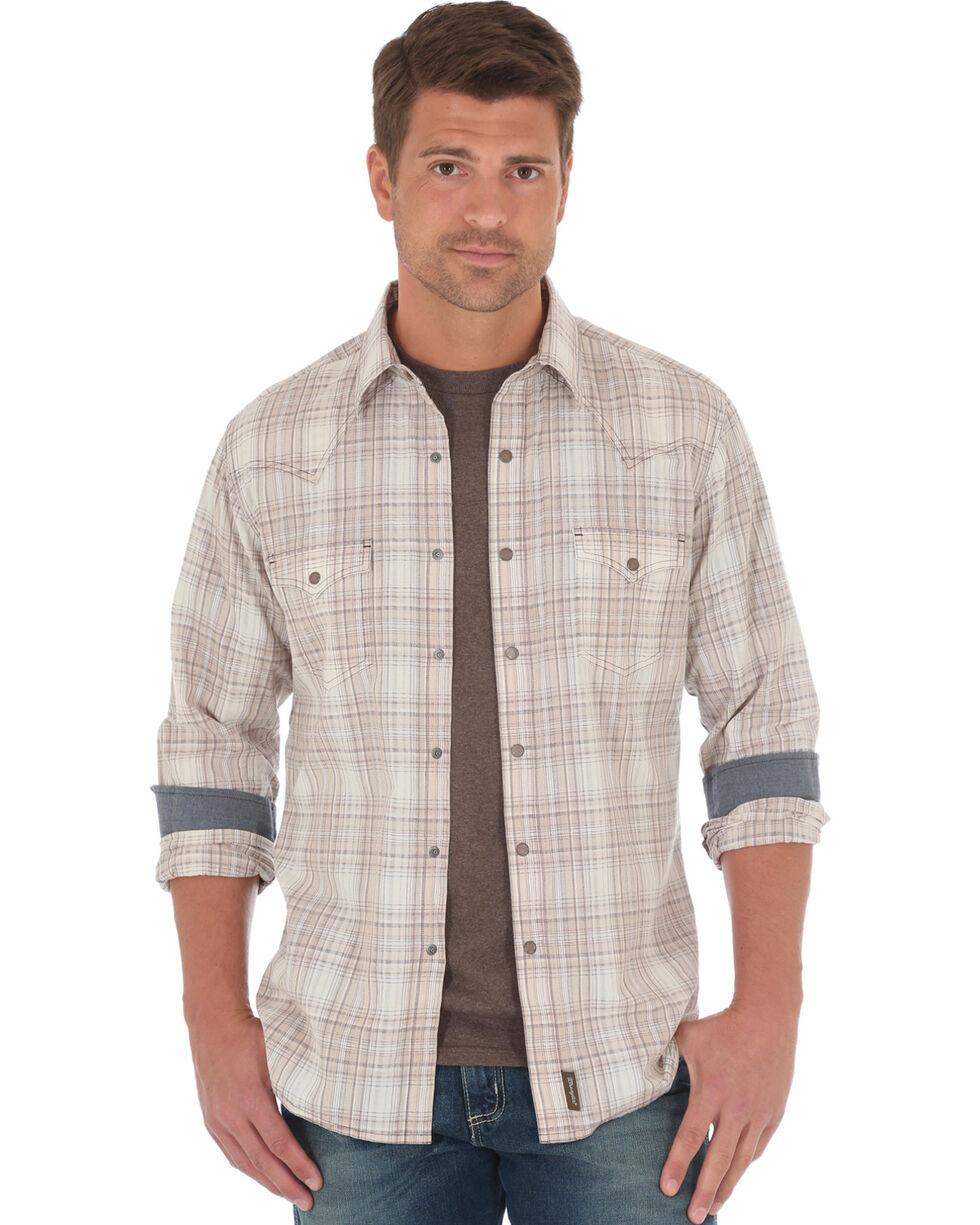 Wrangler Retro Men's Beige Plaid Long Sleeve Snap Shirt, Beige/khaki, hi-res