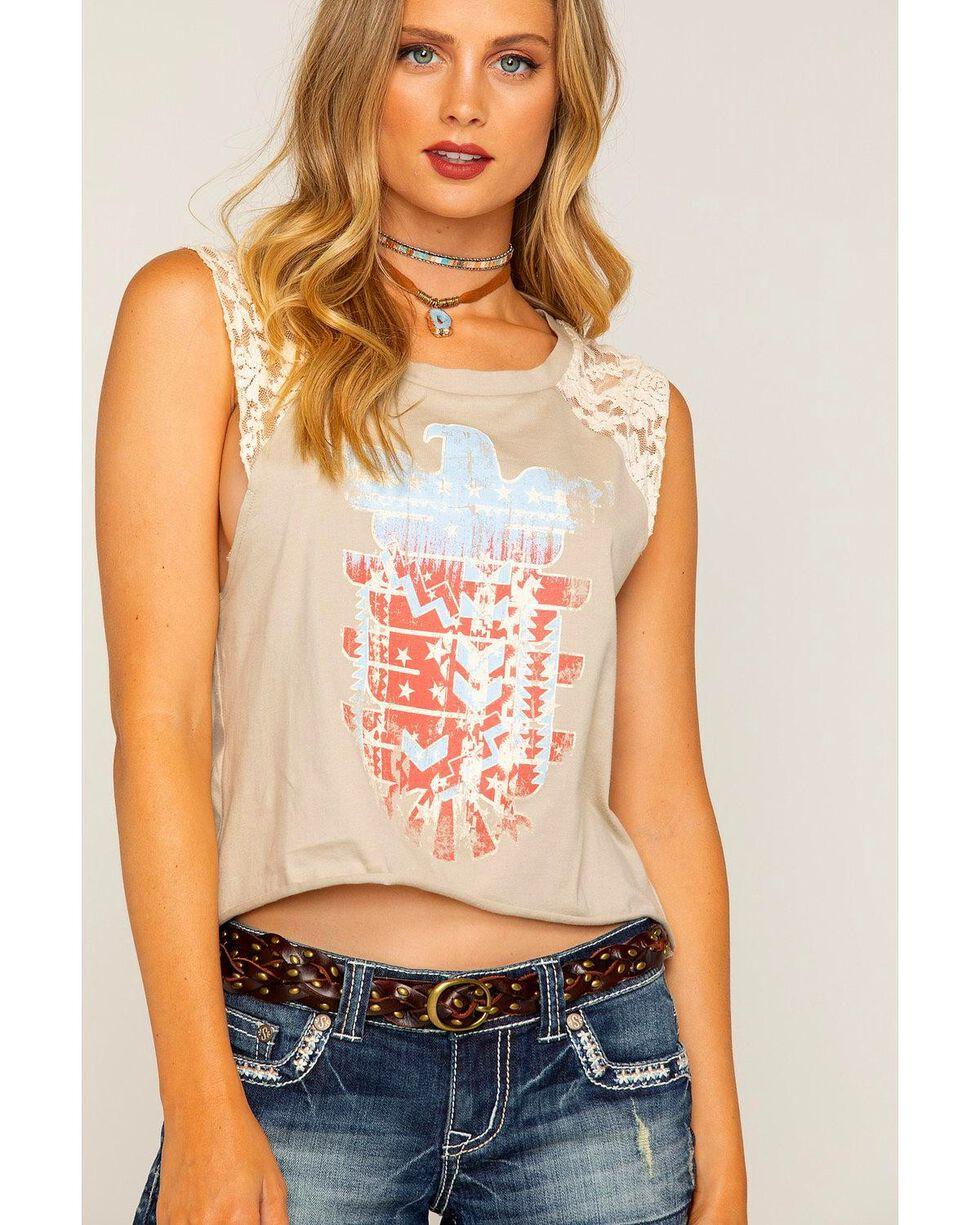 Shyanne Women's Sleeveless Lace Americana Raglan Top, Grey, hi-res