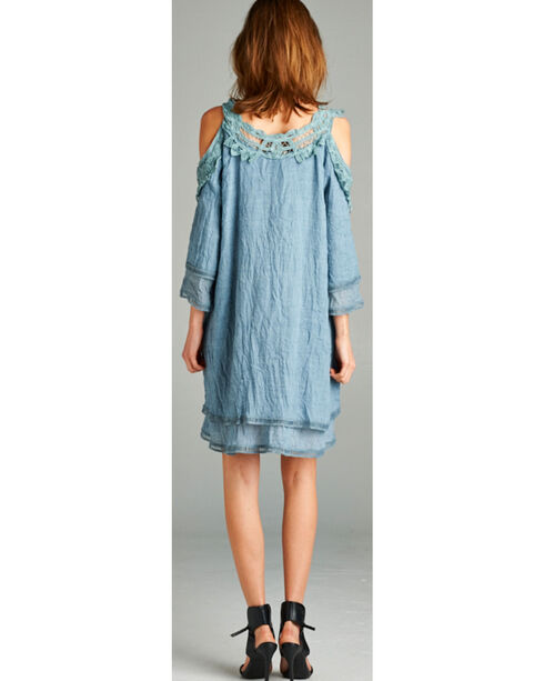Hyku Women's Crocheted Trim Cold Shoulder Mini Dress, Blue, hi-res