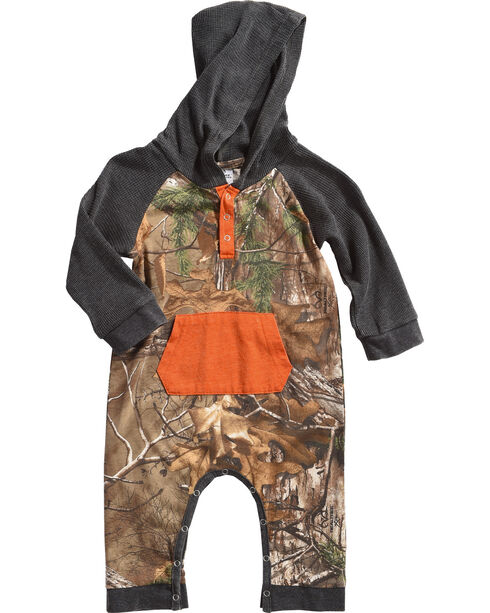 Realtree Infant Boys' Hooded Camo Bodysuit, Camouflage, hi-res