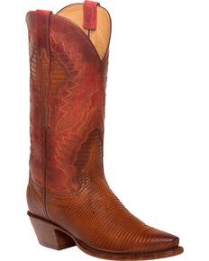 Lucchese Women's Handmade Tan Everly Ring Lizard Western Boots - Snip Toe, Tan, hi-res