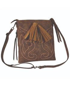 Tony Lama Women's Boot Stitch Crossbody Bag, Brown, hi-res