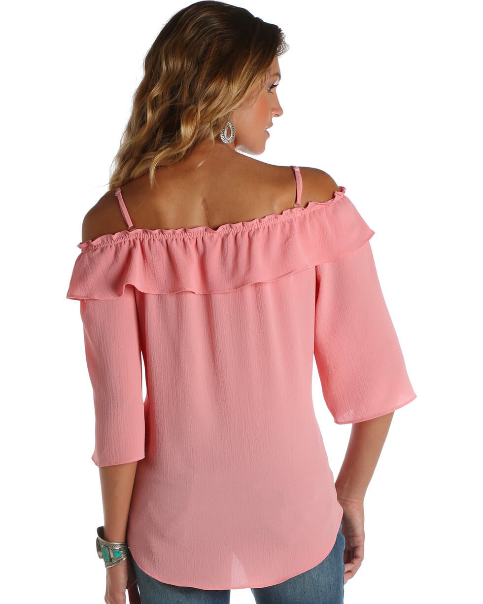 Wrangler Women's Off-The-Shoulder Ruffle Top, Light Pink, hi-res