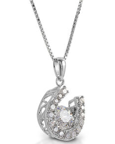 Kelly Herd Women's Dancing Stone Horseshoe Dangle Pendant Necklace , Silver, hi-res