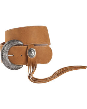 Angel Ranch Women's Antique Silver Concho Fringe Buckle Belt, Tan, hi-res