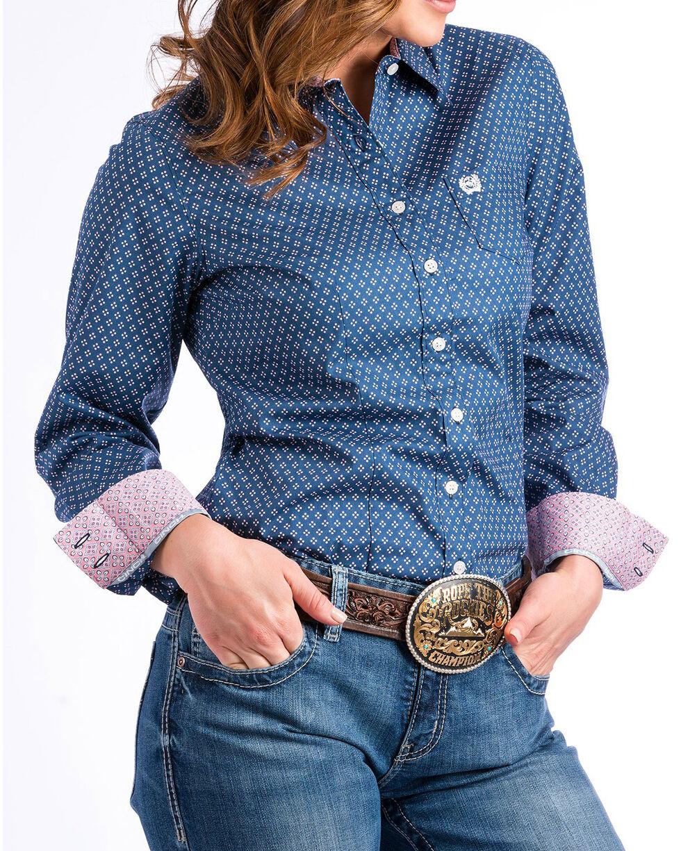 Cinch Women's Navy Diamond Printed Western Shirt , Navy, hi-res