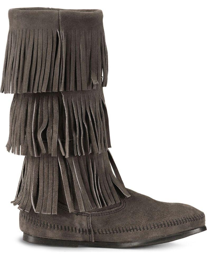 Minnetonka Tall Fringed Boots, Grey, hi-res