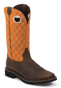 Justin Stampede Pull-On Work Boots - Composition Toe, Brown, hi-res