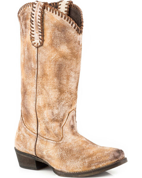 Roper Women's Whip It Whipstitch Distressed Leather Cowgirl Boots - Snip Toe, Tan, hi-res