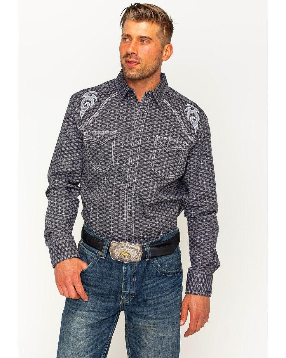 Rock 47 by Wrangler Men's Diamond Pattern Two Pocket Snap Shirt, Black, hi-res