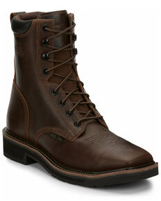 Justin Men's Pulley Lace-Up Work Boots - Steel Toe, Brown, hi-res