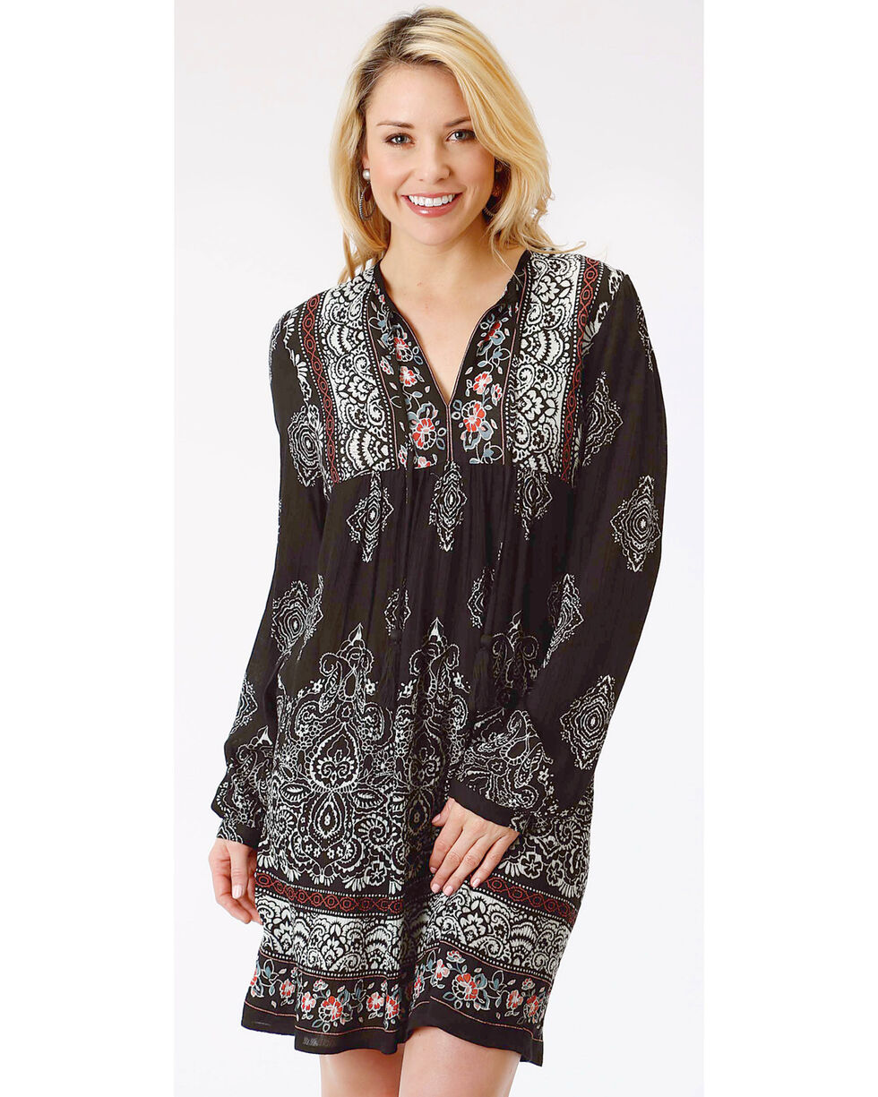 Roper Women's Floral and Paisley Print Long Sleeve Dress, Black, hi-res