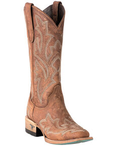 Lane Women's Saratoga Brown Fancy Stitch Cowgirl Boots - Square Toe, Brown, hi-res