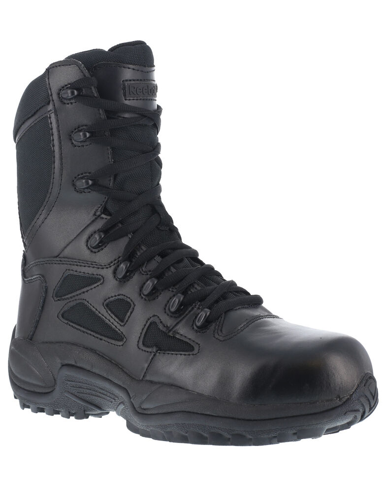 "Reebok Men's Stealth 8"" Lace-Up Black Side-Zip Work Boots - Composite Toe, Black, hi-res"
