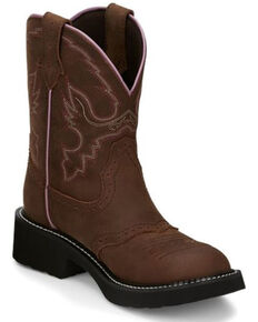 Justin Women's Gemma Western Boots - Round Toe, Distressed Brown, hi-res