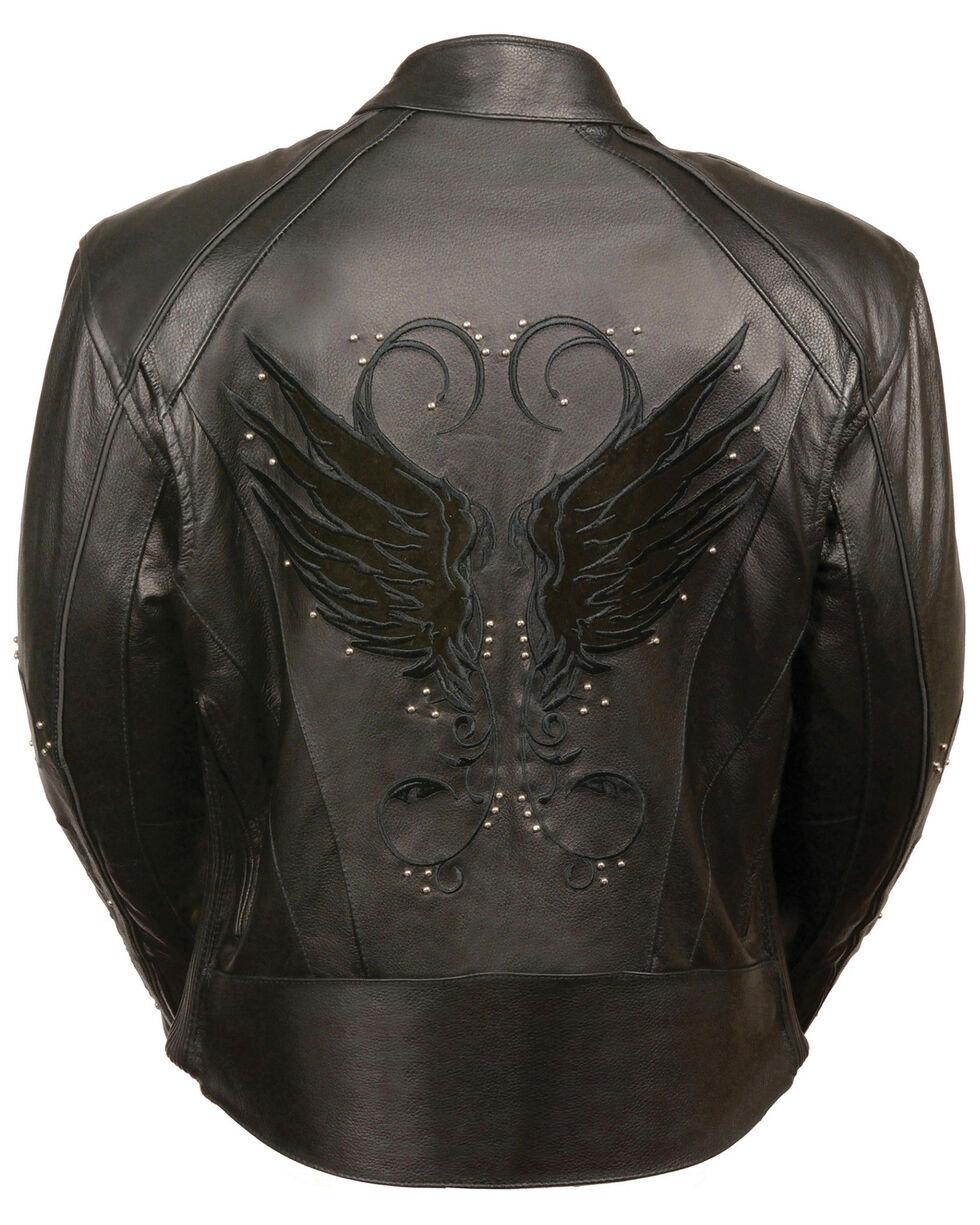 Milwaukee Leather Women's Stud & Wing Leather Jacket, Black, hi-res