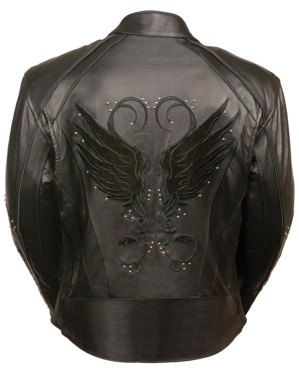 Milwaukee Leather Women's Stud & Wing Leather Jacket - 3XL, , hi-res