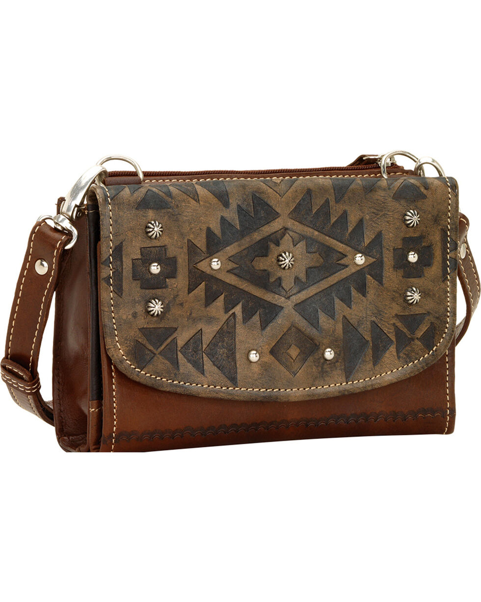 American West Mystic Shadow Small Crossbody Wallet Bag, Dark Brown, hi-res