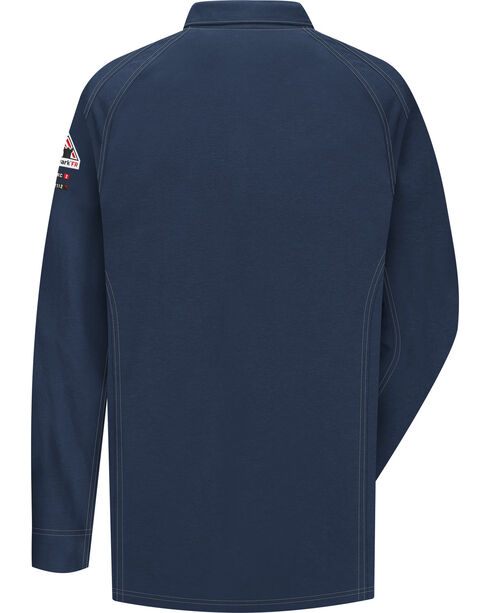 Bulwark Men's Dark Blue iQ Series Flame Resistant Long Sleeve Polo - Big & Tall , Dark Blue, hi-res