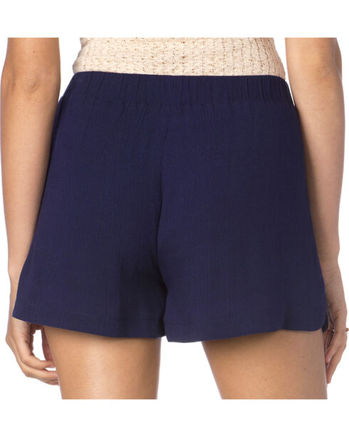 Miss Me Macrame Print Navy Shorts, Navy, hi-res