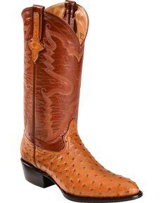 Ferrini Full Quill Ostrich Cowboy Boots - Round Toe, Cognac, hi-res