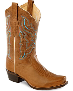 Old West Embroidered Cowgirl Boots - Snip Toe, Light Brown, hi-res