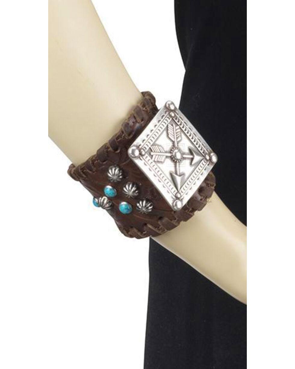 American West Women's Arrow Concho Leather Cuff Bracelet , Chestnut, hi-res