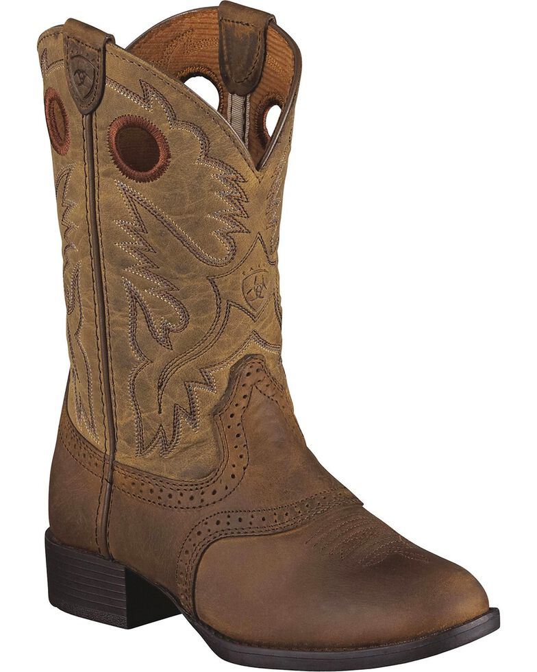 Ariat Youth Heritage Stockman Boots, Brown, hi-res