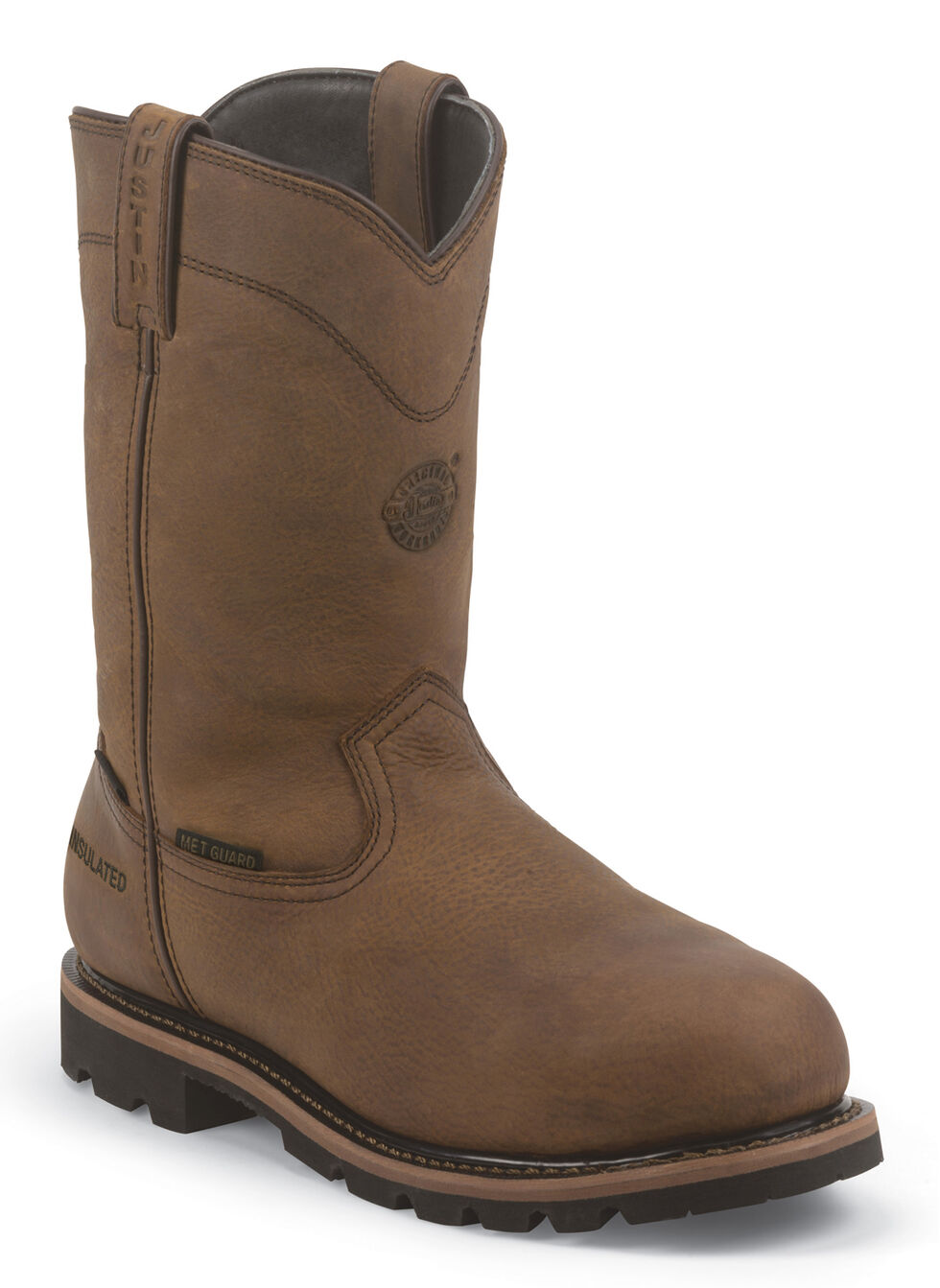 Justin Men's Worker II Wyoming Waterproof Work Boots - Composite Toe, Brown, hi-res