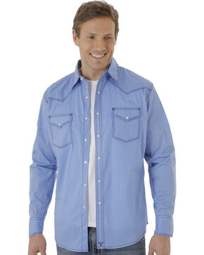 Wrangler 20X Men's Blue Poplin Print Snap Western Shirt, Blue, hi-res