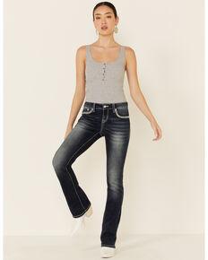 Grace in LA Women's Chevron Embroidered Bootcut Jeans, Blue, hi-res