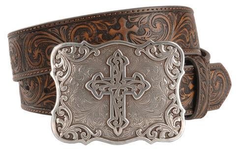 Nocona Embossed Leather Cross Buckle Belt, Brown, hi-res