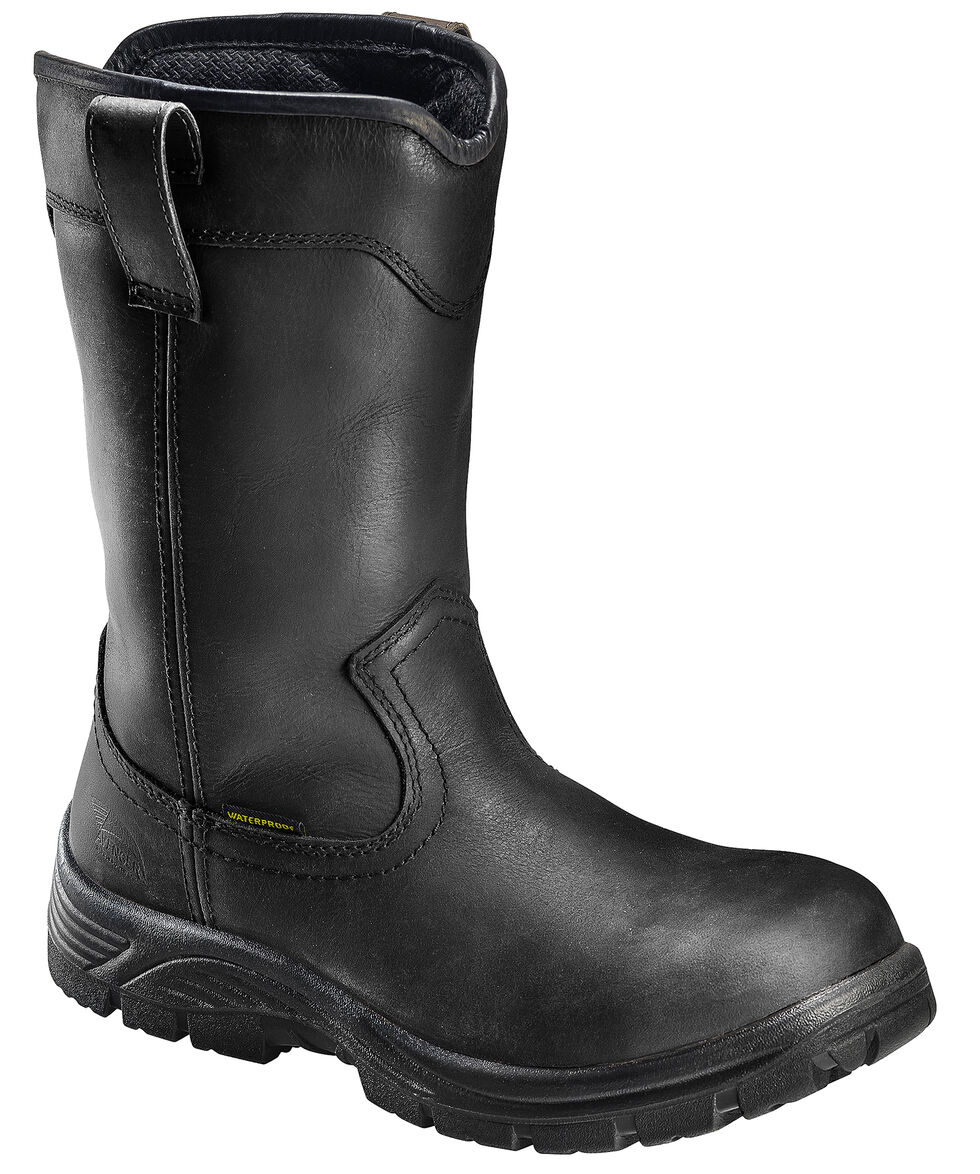 Avenger Men's Black Waterproof Wellington Work Boots - Composite Toe, Black, hi-res