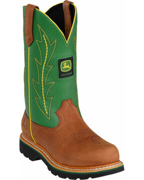 John Deere Crazyhorse Green Cowgirl Boots - Round Toe, Tan, hi-res