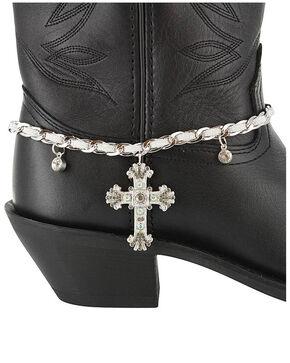 Shyanne Women's  Cross Boot Bracelet, Silver, hi-res