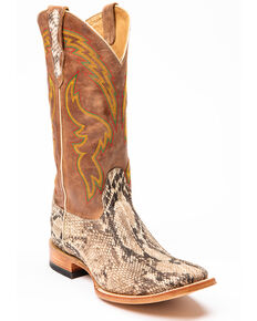 Cody James Men's Brown Python Western Boots - Square Toe, Brown, hi-res