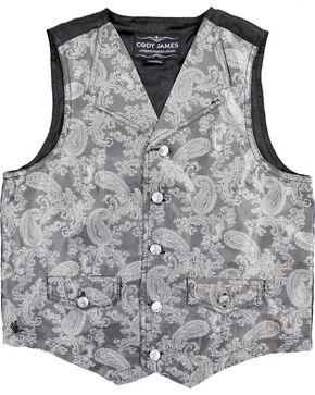 Cody James Boys' Paisley Print Western Vest , Grey, hi-res