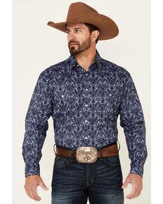 Rough Stock By Panhandle Men's Navy Tonal Print Long Sleeve Snap Western Shirt , Navy, hi-res