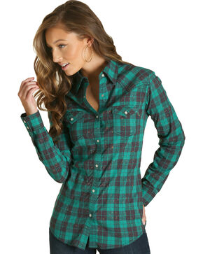 Wrangler Women's Green Plaid Western Shirt , Green, hi-res