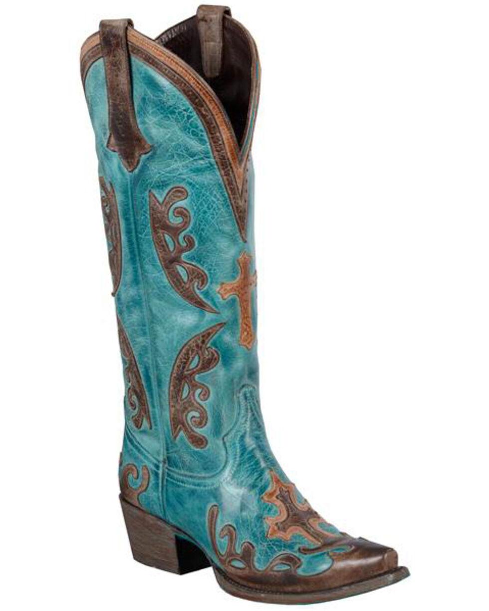 Lane Grace Cowgirl Boots - Snip Toe, Blue, hi-res