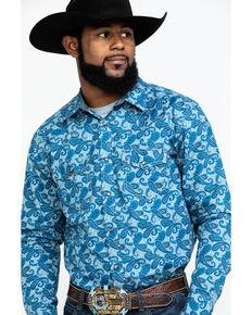 Cody James Men's Grand Stand Paisley Print Long Sleeve Western Shirt , Royal Blue, hi-res