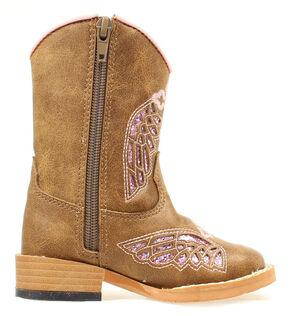 Blazin Roxx Toddler Girls' Gracie Wing Cross Inlay Boots, Brown, hi-res