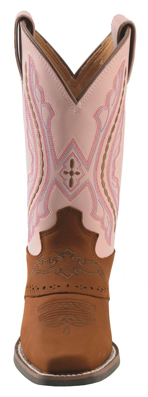 Justin Youth Western Saddle Vamp Cowgirl Boots - Square Toe, Brown, hi-res
